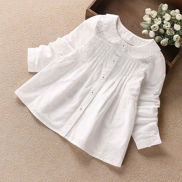 Artishare High Quality Girls Blouses Spring Autumn Lace Flower White Girls School Blouses & Shirt Cotton Kids Girls Top Shirt - thefashionique
