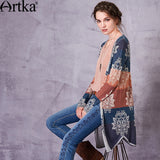 Artka Women's 2018 Autumn Patchwork Jacquard All-match Cardigan Vintage V-Neck Long Sleeve Single Breasted Knitwear WB10271C - thefashionique