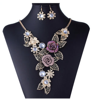 Austrian Crystal  Rose Flower Leaf Jewelry Sets For Women Wedding African Costume Jewelry Maxi Necklace Earring Set  Jewellery - thefashionique