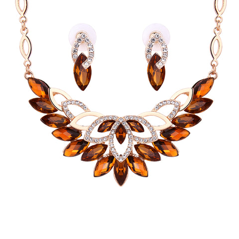 Austrian Crystal Women Wedding Dress Accessories Bridal Jewelry Sets Gold Color Necklace Earrings 2 Pcs Jewelry Sets & More - thefashionique