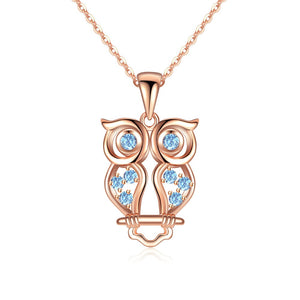 Authentic 100% 925 Sterling Silver Animal Cute Owl Necklace Small Eagle Pendants & Necklaces For Elegant Lady Birthday Gift - thefashionique