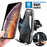 Automatic Clamping Car Wireless Charger 360 Degree Rotation Mount for iphone XR XS MAX Samsung S9 S8 Note 9 Qi Air Vent Holder - thefashionique