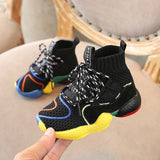 Autumn 2018 Toddler Boys Girls Hot Sock Sneakers Little Kid High Top Knit Booties Big Children Fashion School Brand Sport Shoes - thefashionique