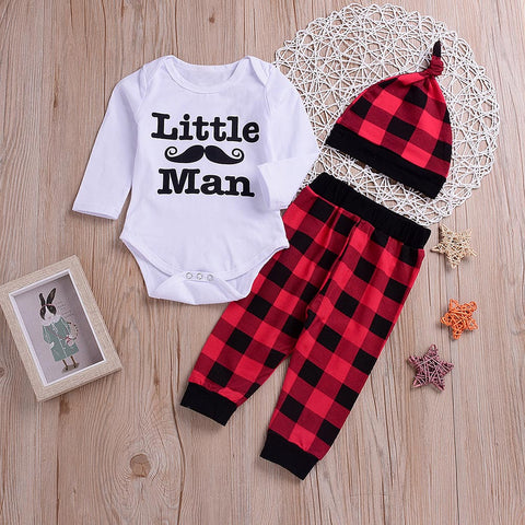 Autumn Boys Clothescute and comfy baby clothes 3PCS Toddler Kids Baby Letter Print Romper+Plaid Print Pants+Hat Set Outfit 30
