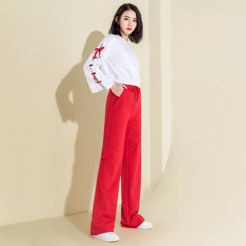 Autumn Cotton High Waist Wide Leg Pants Red Palazzo Pants Casual Loose Drawstring Pants Women Sweatpants Full Length Trousers - thefashionique