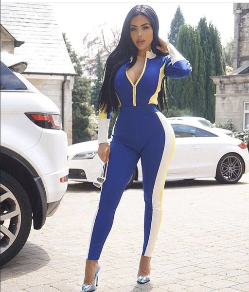 Autumn Rayon Bandage Vestido 2019 New Elegant Sexy Blue Patchwork V-neck Long Sleeves Midi Celebrity Party Jumpsuits Clubwears - thefashionique