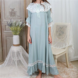 Autumn Sleepwear Women Night Gown Home Wear Sleep Shirt Robe Dress Vintage Nightgown Plus Size Cotton Nightwear Nightshirt T331 - thefashionique