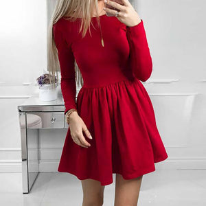 Autumn Winter Dresses Women 2018 Casual Long Sleeve Dress Black Red Vintage Mini Dress WS5605R - thefashionique