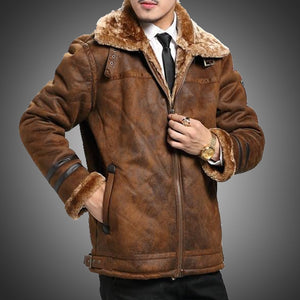 Autumn Winter Jacket Men Vintage Style Faux Leather Jacket Men Fur Lined Warm Coat