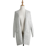 Autumn Winter New Loose Knitted Coat Women Long Cardigan Knitwear Grey Coat Gray Sweater Jacket Tops - thefashionique