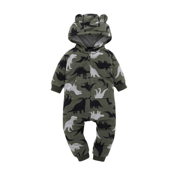 Autumn & Winter Newborn Infant Baby Clothes Fleece Jumpsuit Boys Romper Hooded Jumpsuit Bear Blue Grey Baby Bebe Menino Macacao - thefashionique