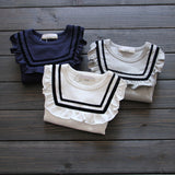 Autumn Winter Toddler Baby Cute ruffles T Shirts Long Sleeve Princess Ruffle Tops Girls Clothes Navy Basic Shirts - thefashionique