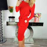Autumn Winter Women Dress Plus Size 2XL Solid Long Sleeve Knee-Length Casual Dresses Sexy Bandage Bodycon Dress Robe Femme GV918 - thefashionique