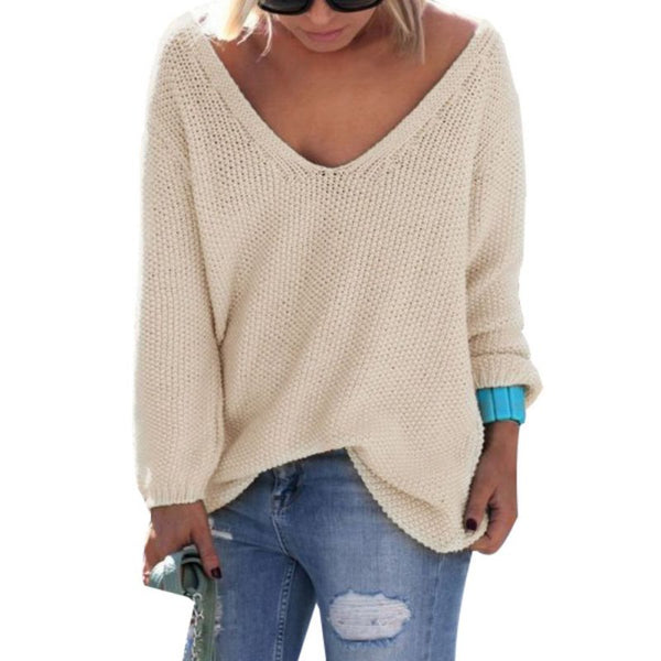 Autumn Womens Cute Elegant V Neck Loose Casual Knit Sweater Pullover Long Sleeve Spring Sweater Tops sueter mujer - thefashionique