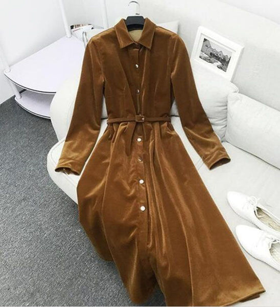 Autumn and Winter Women's Wear Retro Corduroy  Ankle Length Single Breasted Warm Velvet Dress Black Blue Female Clothes - thefashionique