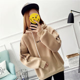 Autumn winter Couple plus velvet padded female hooded long-sleeved loose  embroidery Tops  Women letter print pocket Sweatshirts - thefashionique