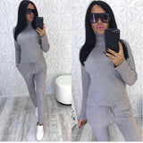 Autumn winter Knitted tracksuit Set Turtleneck sweatshirts 2 Two Piece set Knit Female Sporting suit Fashion Women Suit clothing - thefashionique