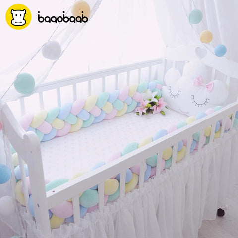 BAAOBAAB CW04 Knot Design Soft Baby Bed Bumper 4 Braid 2M Newborn Crib Pad Protection Cot Bumpers Bedding Accessories for Infant - thefashionique