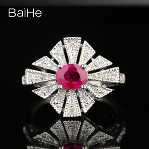 BAIHE Solid 18k White Gold(AU750) Certified Oval Cut 1.04ct Natural Ruby Engagement Women Trendy Fine Jewelry Fashion Ring