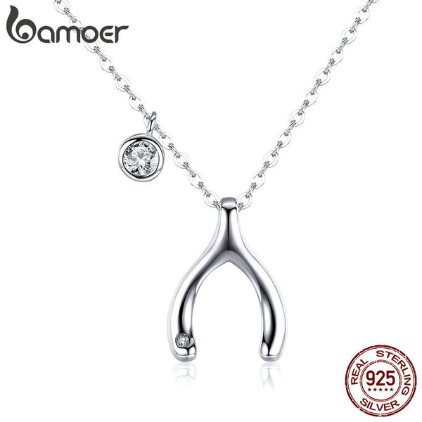 BAMOER 2019 Summer Wishbone Pendants Necklace 925 Sterling Silver Lucky Guardian Statement Necklace Korean Jewelry BSN046 - thefashionique