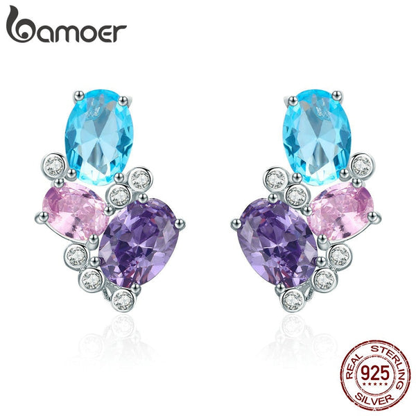 BAMOER Classic 100% 925 Sterling Silver Colorful Zircon Geometric Earrings Simple Stud Earrings for Women Silver Jewelry SCE579 - thefashionique