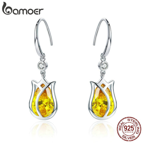 BAMOER Elegant 925 Sterling Silver Yellow Tulips Flower Drop Earrings for Women Yellow Zircon Earrings Luxury Jewelry BSE065 - thefashionique