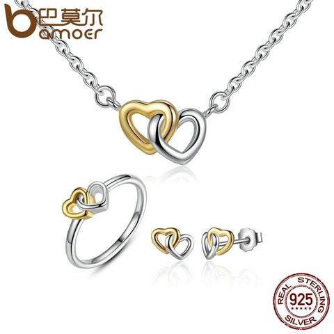 BAMOER Genuine 925 Sterling Silver Bridal Jewelry Set Heart to Heart Jewelry Sets Silver Jewelry Sets amp More ZHS016 - thefashionique