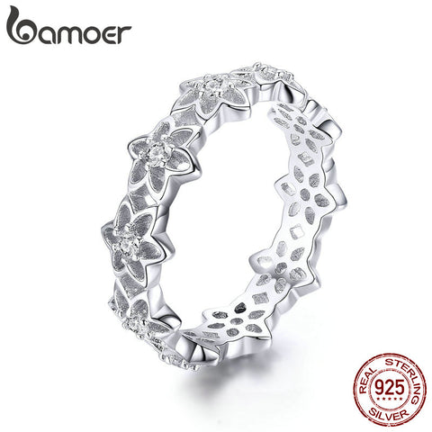 BAMOER Genuine 925 Sterling Silver Stackable Blooming Begonia Flower Female Rings for Women Sterling Silver Jewelry Anel BSR029 - thefashionique