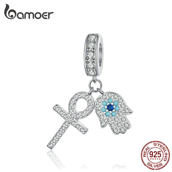 BAMOER Guardian Hamsa Hand Pendant Charm for Bracelet Bangle 925 Sterling Silver Fatima Hand Guardian Jewelry for Women BSC084 - thefashionique