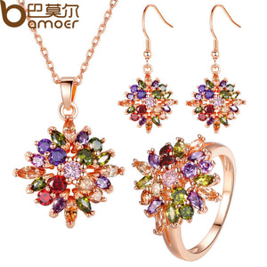 BAMOER Luxury  Rose Gold Color Flower Jewelry Sets & More for Women Party with AAA Multicolor CZ High Quality - thefashionique