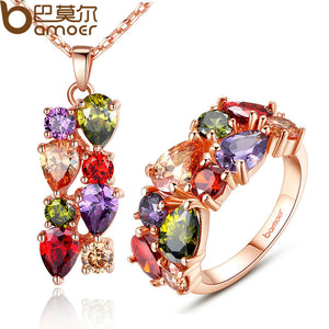 BAMOER New Gold Color Mona Lisa Jewelry Sets amp More with Multicolor AAA Cubic Zircon for Women Anniversary Bridal Sets - thefashionique