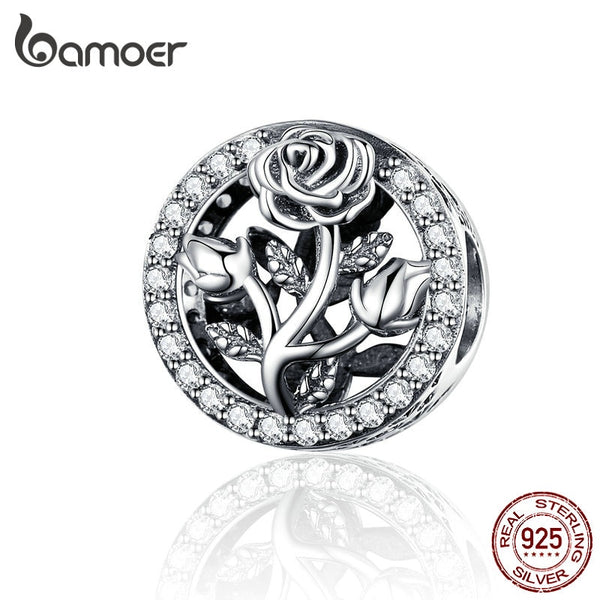 BAMOER Round Metal Charms 925 Stering Silver Rose Flower Beads for Women Jewelry Making Charm Bracelet Accessories SCC1189 - thefashionique