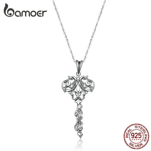 BAMOER Vintage Pendant Necklace 925 Sterling Silver European Pattern Key Chain Necklace for Women Silver Jewelry  SCN328 - thefashionique