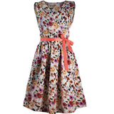 BEFORW Women Fashion Floral Print Vintage Dresses Summer Casual Sleeveless Dress Boho V Neck Retro Party Sexy Dresses Vestido - thefashionique