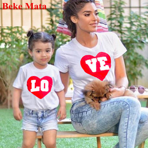 cde7adbcea BEKE MATA Famiy Matching Outfits 2017 Summer LOVE Matching Mother Daughter  Clothes Cotton Family Look Girl