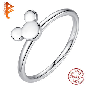 BELAWANG 100% 925 Sterling Silver Ring Mickey Finger Ring for Women Sterling Silver Jewelry Gift Female engaged Ring - thefashionique