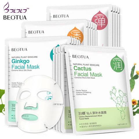 BEOTUA Facial plant extract Mask Face Mask Deep Nourish Brighten Moisturizing Hyaluronic Acid Beauty Skin Care Sheet Mask - thefashionique