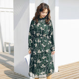 BGTEEVER Elegant Stand Collar Floral Printed Women Dress Full Sleeve A-line Female Chiffon Dress 2019 Women Midi Vestidos - thefashionique