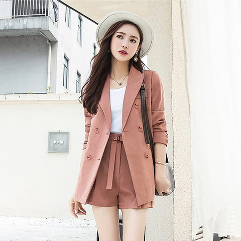e48e3b4379 BGTEEVER Short Suits Notched Collar Blazer Jacket & Sashes Shorts Women  Pant Suits Wear to Work