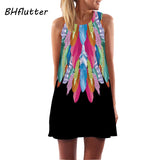 BHflutter Women Dresses Digital Print Summer Dress 2017 New Fashion Boho Style Beach dress Dashiki Hippie Dress Mini Vestidos - thefashionique