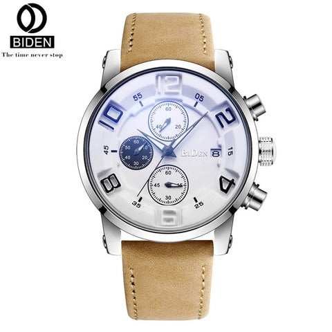 BIDEN business Quartz Men Watches Fashion Leather Date Chronograph Watch Clock for Gentle Men Male Students Reloj Hombre