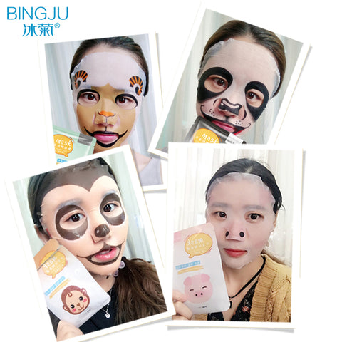BINGJU 1 pcs Facial Mask Skin Care Sheep/Panda/Dog/Tiger Moisturizing Whitening Nourish  Cute Animal Face Masks Skin care
