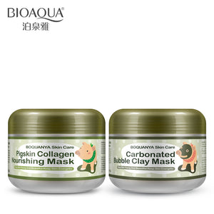 BIOAQUA 2PCS/lot little Pig Pigskin Collagen Nourishing Mask Carbonated Bubble Clay Mask Moisturizing Brighten Skin Care Set - thefashionique