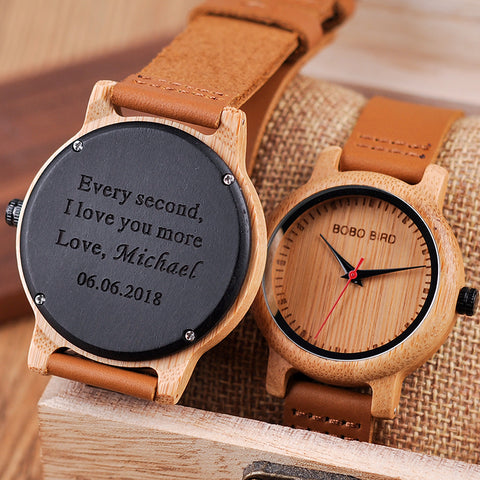 BOBO BIRD Couple Watch Engraving Gift Men Watches Family Son DAD MOM Men's Quartz Women Wristwatch logo bayan kol saati