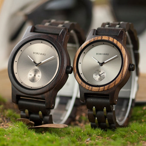 BOBO BIRD Couple Watch Lover's Men Watches Women Wooden Quartz Ladies Clock Gift Cuostom logo saat erkek masculino watch