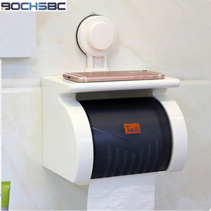 BOCHSBC Eco-friendly ABS Toilet Tissue Box Sanitary Ware Suction Cup Cover Paper Holders Bathroom Waterproof Portarollos Cocina - thefashionique