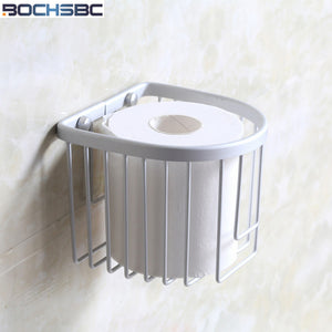 BOCHSBC Toilet Paper Basket Aluminum Alloy Toilet Roll Holder Sanitary Toilet Holder Box Sucker Toilete Paper Holder - thefashionique