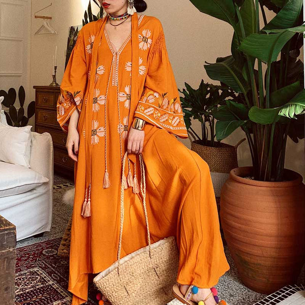 BOHO INSPIRED Spring Summer 2019 tassels ukraine foral embroidery dress boehmian yellow V-neck long dress women vestidos - thefashionique