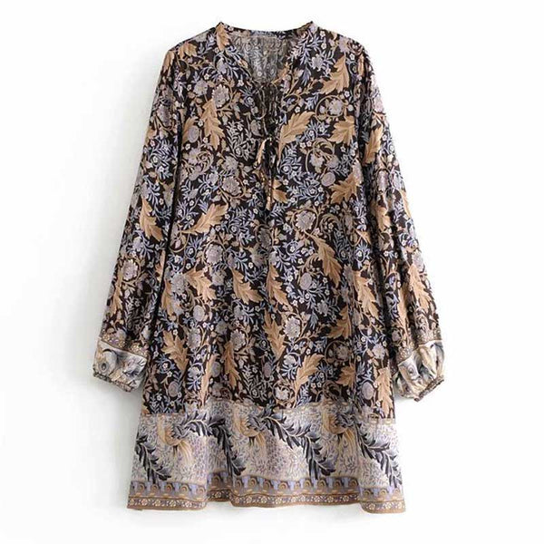BOHO INSPIRED black floral print dress for women V-neck tied 2019 Spring Summer dress casual chic long sleeve mini beach dress - thefashionique