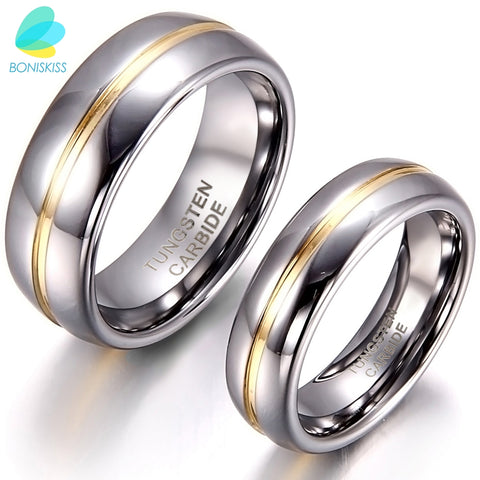 BONISKISS Couple Gold Inset Tungsten Carbide Ring for Anniversary Engagement Tungsten Wedding Rings 6/8 mm - thefashionique